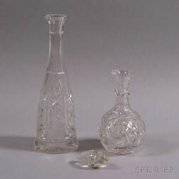 Two Colorless Cut Glass Decanters