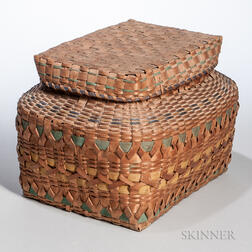 Native American Paint-decorated Lidded Splint Basket