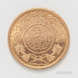 1370 (1950) Saudi Guinea Gold Coin.     Estimate $300-500