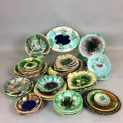 Approximately Forty-one Majolica Ceramic Dishes.     Estimate $300-500