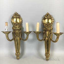 Pair of Neoclassical-style Brass Two-light Wall Sconces