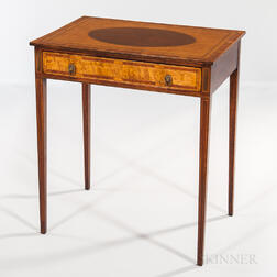 Neoclassical-style Mahogany and Mahogany- and Burlwood-veneer Side Table