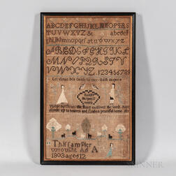 """Ruthy Burpee's Work"" Needlework Sampler"