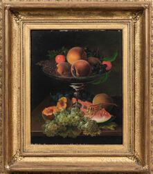 American School, 19th Century      Still Life with Fruit in a Silver Compote
