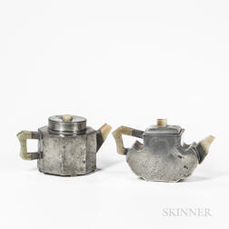 Two Pewter Covered Teapots