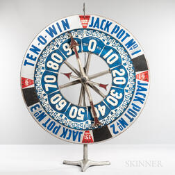 "Large Painted Wood ""Ten-o-win"" Wheel of Chance"