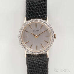 Elgin 14kt Gold and Diamond Manual-wind Wristwatch