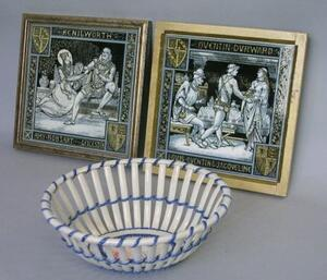 Pair of Framed Minton Renaissance Scene Transfer Decorated Tiles and an English Pearlware Basket