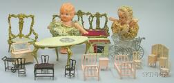 Lot of German and American Dollhouse Furniture and Accessories