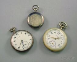 Two .935 Silver Open Face Pocket Watches and a Mother-of-Pearl Cased Open Face   Pocket Watch