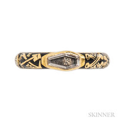Rare Gold, Black Enamel, and Crystal Memento Mori Ring