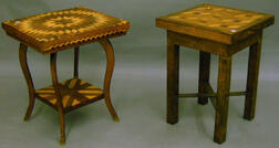 Tramp Art Parquetry-decorated Wooden Occasional Table and a Parquetry-top   Oak Occasional Table.
