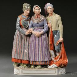 Royal Copenhagen Porcelain Figural Group of Two Women and a Man
