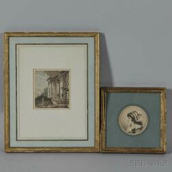 Two Framed Etchings:    Attributed to Baron Dominique Vivant Denon (French, 1747-1825), Profile of a Woman in a Cap