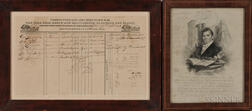 Printed Citizen's Union Line Way Bill and a Print of Thomas S. Webb