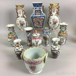 Eleven Mostly Chinese Export Porcelain Vases