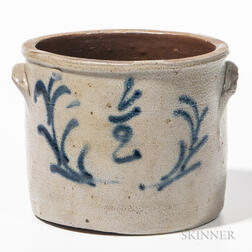Half-gallon Cobalt-decorated Stoneware Crock