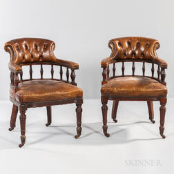 Pair of William IV Mahogany Leather-upholstered Tub Chairs