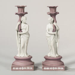 Pair of Wedgwood Jasper Dip Candlesticks