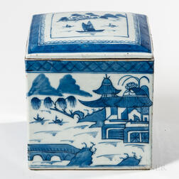 Rare Canton Export Porcelain Square Box