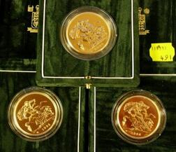 1995, 1998 and 2000 United Kingdom Brilliant Uncirculated  £ 5 Gold Coins