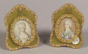 Pair of Framed Portrait Miniatures on Ivory of Eighteenth Century Ladies