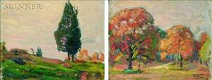 Robert Henry Logan (American, 1874-1942)    Lot of Two Wooded Landscapes