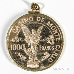 Monte Carlo Casino 14kt Gold 1000 Francs Medallion