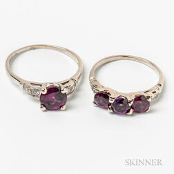 Two 14kt Gold and Amethyst Rings