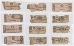 Eleven 1862 and 1863 Confederate $2 Notes and an 1862 $1 Note