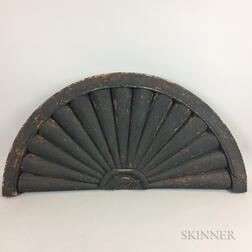 Black-painted Louvered Fan Light