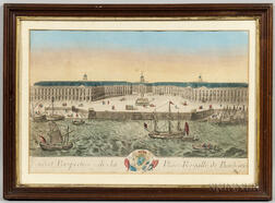 French School, 18th Century    Veuë et Perspective de la Place Royalle de Bordeaux