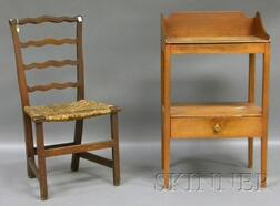 Red-painted Cherry Washstand and a Chippendale Grain-painted Ribbon-back Side Chair.