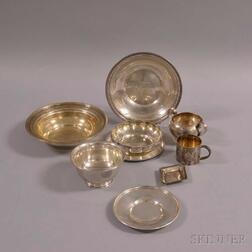 Nine Pieces of Sterling Silver Hollowware