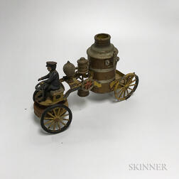 Kingsbury Tin Mechanical Fire Engine Toy