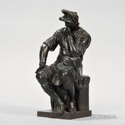 After Michelangelo (Italian, 1475-1594)    Bronze Figure of Lorenzo from the Medici Tomb