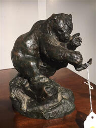After Antoine-Louis Barye (French, 1795-1875)    Bronze Figure of a Bear Attacking an Owl