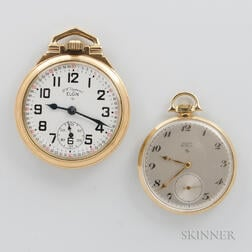 "Elgin ""Deluxe"" 14kt Gold and ""B.W. Raymond"" Open-face Watches"