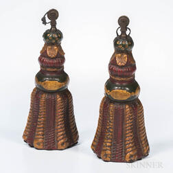 Pair of Painted Cast Iron Tassel-form Weights