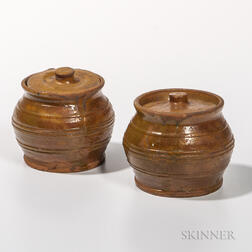 Two Glazed Redware Jars
