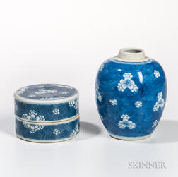 """Two Blue and White """"Hawthorne"""" Patterned Items"""