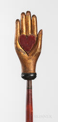 Gilt and Red-painted Heart and Hand Odd Fellows Warden's Staff with Stand