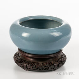 Sky Blue Alms Bowl with Stand