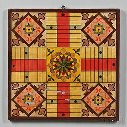 Paint-decorated and Gilt Parcheesi Game Board