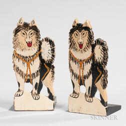 Two Pairs of Carved and Painted Husky Bookends