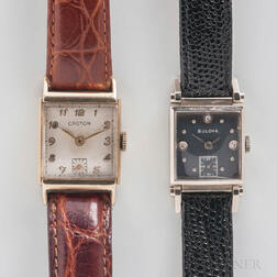 Two 14kt Gold Tank-style Wristwatches