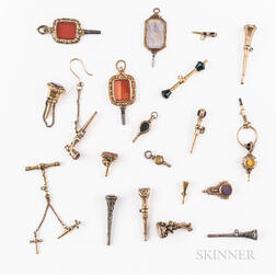 Twenty Gilt and Silvered Stone-set Watch Keys