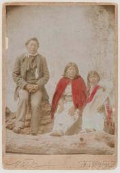 Framed Oversized Cabinet Card of an Ute Family by Charles Nast