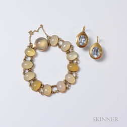 18kt Gold and Aquamarine Earrings and Moonstone Bracelet