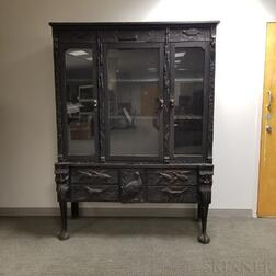 Ebonized Oak Carved Display Cabinet